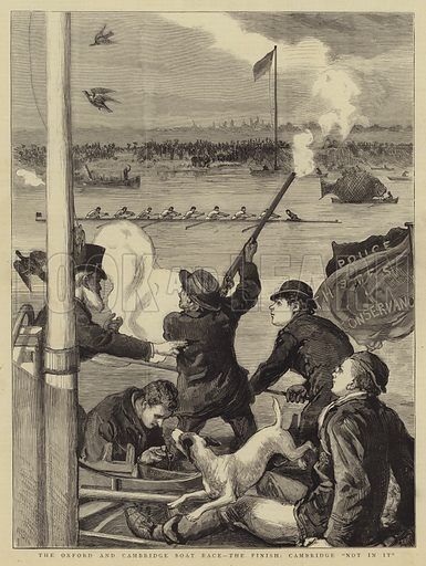 """The Oxford and Cambridge Boat Race, the Finish, Cambridge """"Not in it"""". Illustration for The Graphic, 8 April 1882."""
