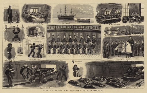 "Life on Board HM Training Ship ""Exmouth"". Illustration for The Graphic, 1882."