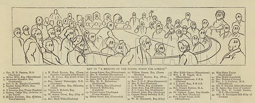 """Key to """"A Meeting of the School Board for London"""". Illustration for The Graphic, 8 July 1882."""