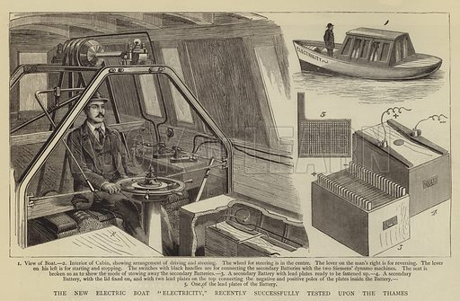 "The New Electric Boat ""Electricity,"" recently successfully tested upon the Thames. Illustration for The Graphic, 28 October 1882."