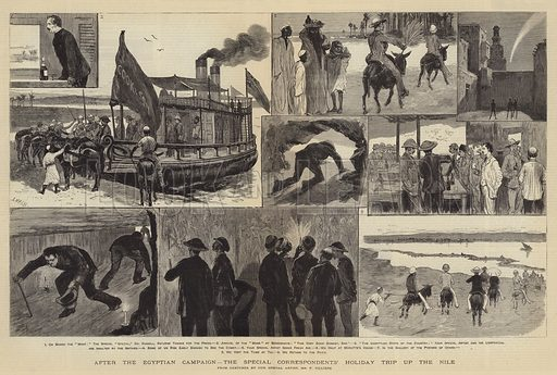 After the Egyptian Campaign, the Special Correspondents' Holiday Trip up the Nile. Illustration for The Graphic, 11 November 1882.