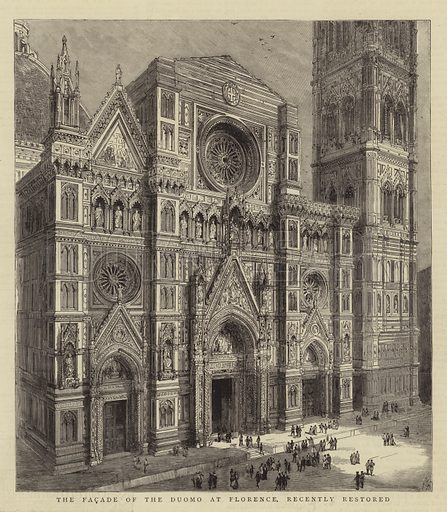 The Facade of the Duomo at Florence, recently restored. Illustration for The Graphic, 12 January 1884.