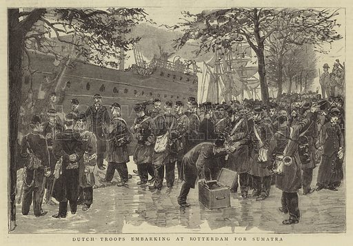 Dutch Troops embarking at Rotterdam for Sumatra. Illustration for The Graphic, 16 February 1884.