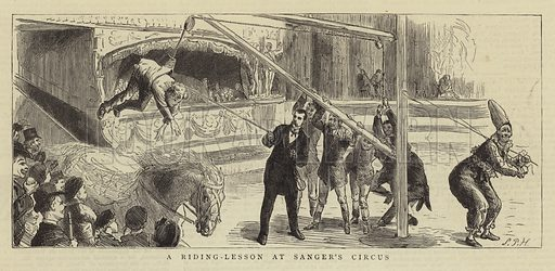 A Riding-Lesson at Sanger's Circus. Illustration for The Graphic, 16 February 1884.