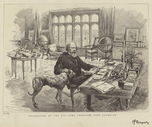 Celebrities of the Day, Lord Tennyson, Poet Laureate. Illustration for The Graphic, 22 March 1884.