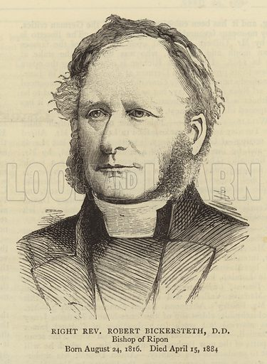 Right Reverend Robert Bickersteth, DD, Bishop of Ripon. Illustration for The Graphic, 26 April 1884.