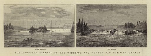 The Proposed Termini of the Winnipeg and Hudson Bay Railway, Canada. Illustration for The Graphic, 10 May 1884.