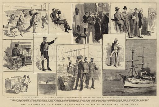 The Experiences of a Subaltern, ordered on Active Service while on Leave. Illustration for The Graphic, 23 February 1884.