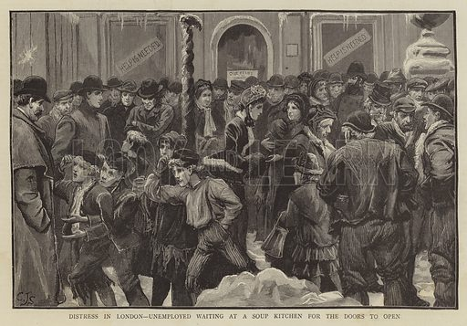 Distress in London, Unemployed waiting at a Soup Kitchen for the Doors to open