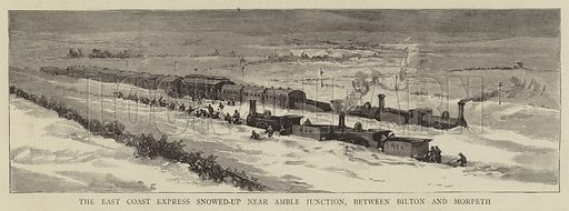 The East Coast Express snowed-up near Amble Junction, between Bilton and Morpeth. Illustration for The Graphic, 13 March 1886.