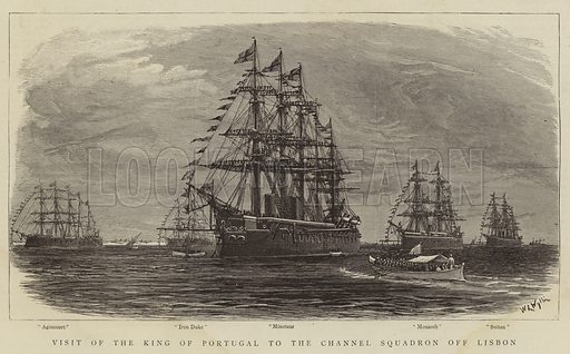 Visit of the King of Portugal to the Channel Squadron off Lisbon. Illustration for The Graphic, 13 March 1886.
