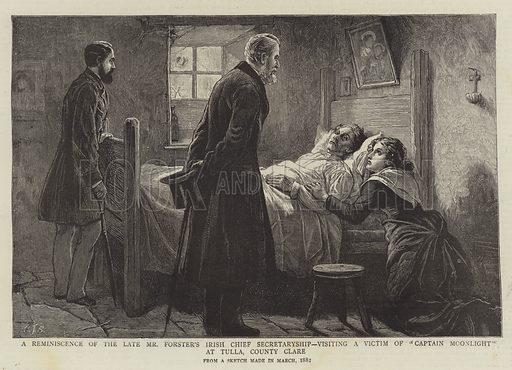 """A Reminiscence of the Late Mr Forster's Irish Chief Secretaryship, visiting a Victim of """"Captain Moonlight"""" at Tulla, County Clare. Illustration for The Graphic, 10 April 1886."""