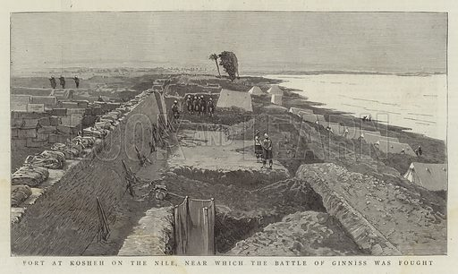 Fort at Kosheh on the Nile, near which the Battle of Ginniss was fought. Illustration for The Graphic, 8 May 1886.