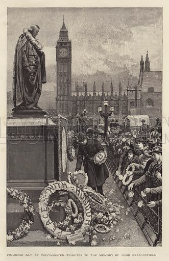 Primrose Day at Westminster, Tributes to the Memory of Lord Beaconsfield. Illustration for The Graphic, 1886.
