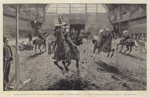 Rehearsing for the Royal Military Tournament at the Agricultural Hall, Islington. Illustration for The Graphic, 19 June 1886.