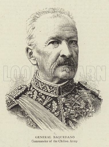 General Baquedano, Commander of the Chilian Army. Illustration for The Graphic, 7 February 1891.