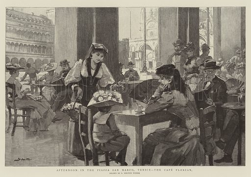 Afternoon in the Piazza San Marco, Venice, the Cafe Florian