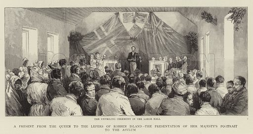 A Present from the Queen to the Lepers of Robben Island, the Presentation of Her Majesty's Portrait to the Asylum. Illustration for The Graphic, 13 June 1891.