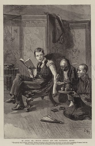 In Japan, 1881, Prince George and the Tattooing Artist. Illustration for The Graphic, 8 July 1893.