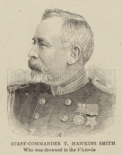 Staff-Commander T Hawkins Smith, who was drowned in the Victoria. Illustration for The Graphic, 15 July 1893.