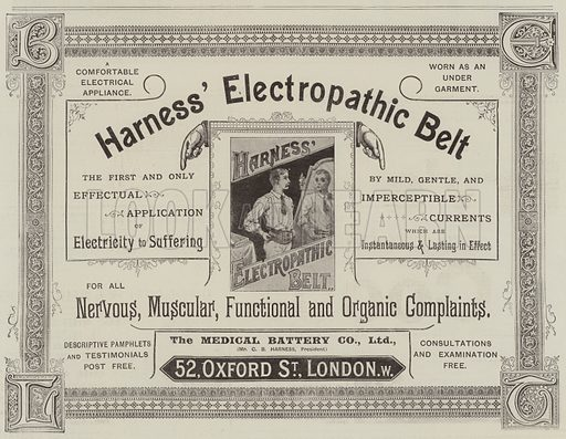 Advertisement, Harness' Electropathic Belt. Illustration for The Graphic, 21 October 1893.