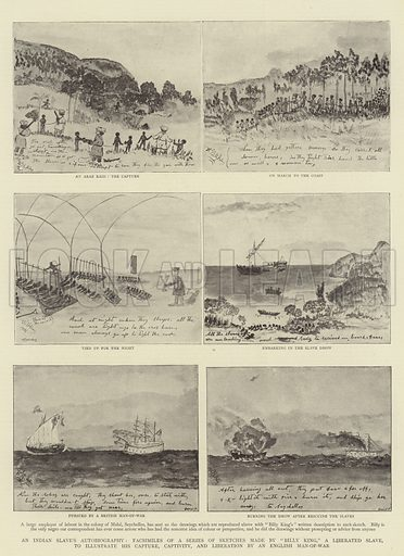"An Indian Slave's Autobiography, Facsimiles of a Series of Sketches made by ""Billy King,"" a Liberated Slave, to illustrate his Capture, Captivity, and Liberation by an English Man-of-War. Illustration for The Graphic, 25 November 1893."