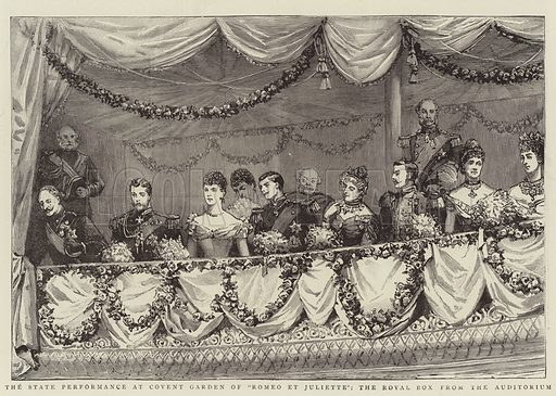 """The State Performance at Covent Garden of """"Romeo et Juliette"""", the Royal Box from the Auditorium. Illustration for The Graphic, 10 July 1893."""