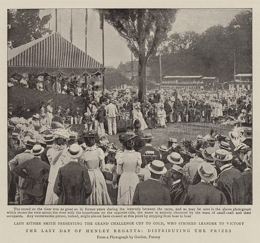 The Last Day of Henley Regatta, distributing the Prizes. Illustration for The Graphic, 16 July 1898.