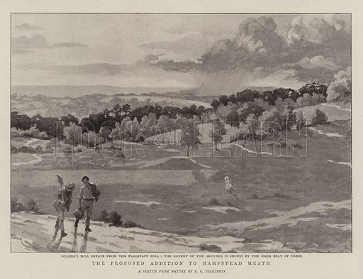 The Proposed Addition to Hampstead Heath. Illustration for The Graphic, 16 July 1898.