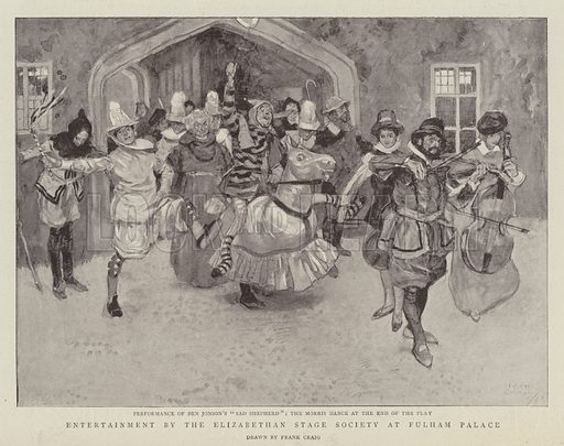 Entertainment by the Elizabethan Stage Society at Fulham Palace. Illustration for The Graphic, 30 July 1898.