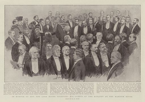 In Honour of Art, the Lord Mayor receiving his Guests at the Banquet at the Mansion House. Illustration for The Graphic, 30 July 1898.