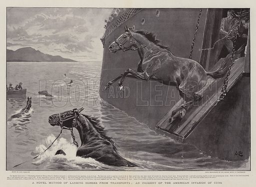 A Novel Method of Landing Horses from Transports, an Incident of the American Invasion of Cuba. Illustration for The Graphic, 3 September 1898.