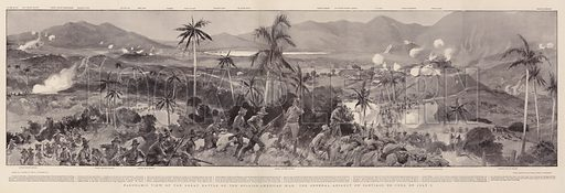 Panoramic View of the Great Battle of the Spanish-American War, the General Assault on Santiago de Cuba on 1 July. Illustration for The Graphic, 27 August 1898.