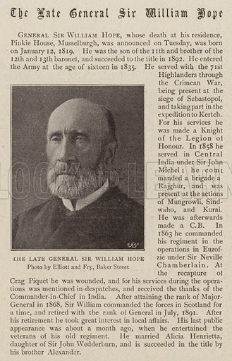 The Late General Sir William Hope. Illustration for The Graphic, 10 September 1898.