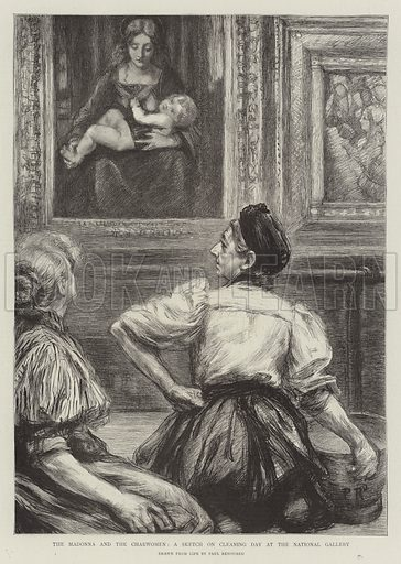 The Madonna and the Charwomen, a Sketch on Cleaning Day at the National Gallery