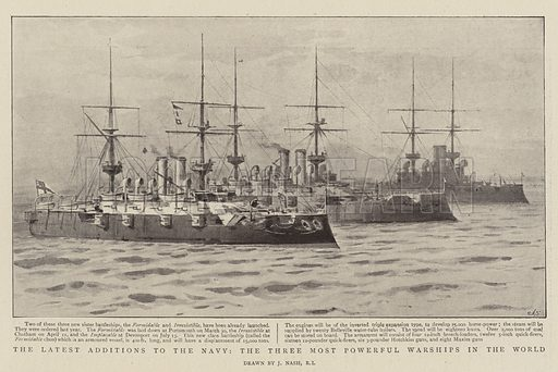 The Latest Additions to the Navy, the Three Most Powerful Warships in the World. Illustration for The Graphic, 24 December 1898.