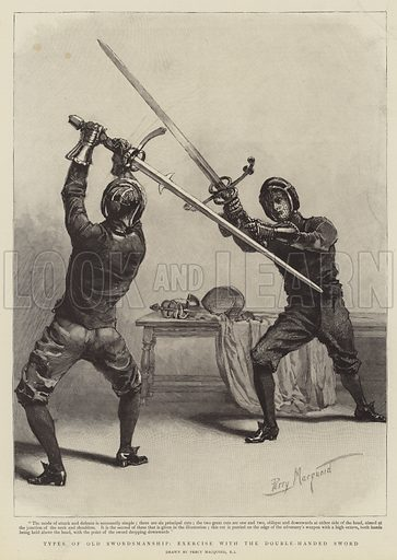 Types of Old Swordmanship, exercise with the Double-Handed Sword. Illustration for The Graphic, 14 April 1894.