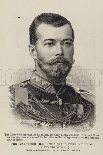 The Czarevitch, HIR The Grand Duke Nicholas Alexandrovitch.  Illustration for The Graphic, 28 April 1894.