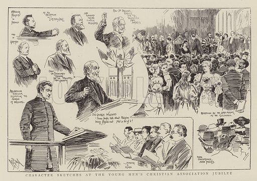 Character sketches at The Young Men's Christian Association Jubilee.  Illustration for The Graphic, 9 June 1894.
