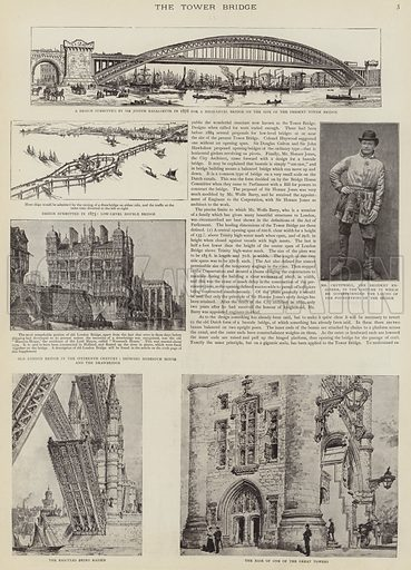 The construction of Tower Bridge, London. Illustration for The Graphic, 30 June 1894.