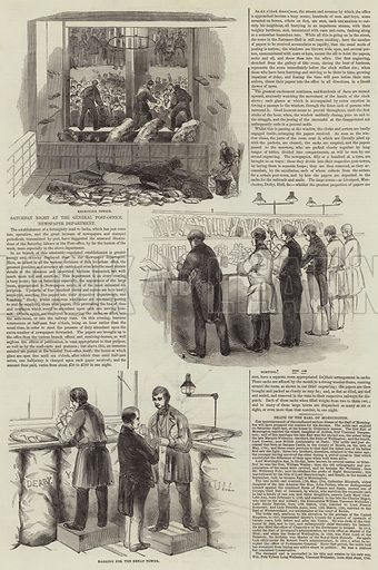 Saturday Night at the General Post-Office, Newspaper Department. Illustration for The Illustrated London News, 1 March 1845.
