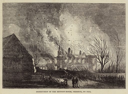 Destruction of the Rectory-House, Skirbeck, by Fire. Illustration for The Illustrated London News, 23 January 1847.