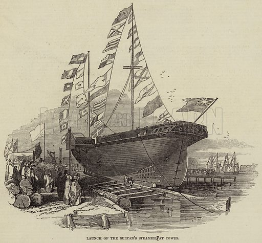 Launch of the Sultan's Steamer, at Cowes. Illustration for The Illustrated London News, 13 March 1847.