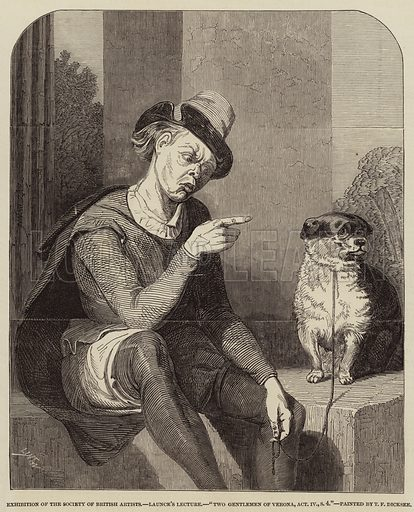 """Launce's Lecture, """"Two Gentlemen of Verona, Act IV, Scene 4"""". Illustration for The Illustrated London News, 17 April 1847."""