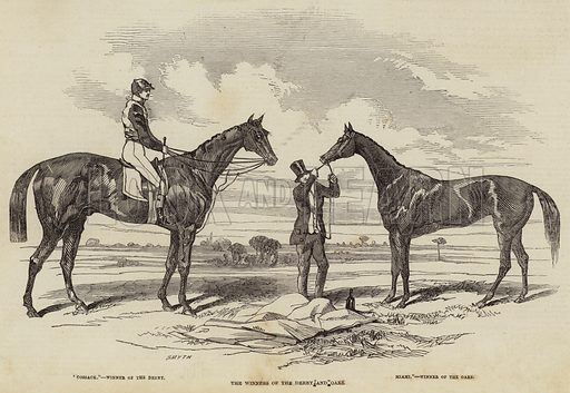 The Winners of the Derby and Oaks. Illustration for The Illustrated London News, 29 May 1847.