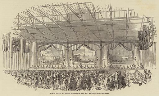 Public Dinner to Robert Stephenson, Esquire, MP, at Newcastle-upon-Tyne. Illustration for The Illustrated London News, 10 August 1850.