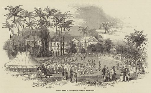 School Fete at Codrington College, Barbadoes. Illustration for The Illustrated London News, 26 October 1850.