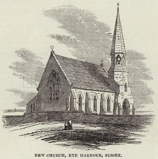 New Church, Rye Harbour, Sussex. Illustration for The Illustrated London News, 16 November 1850.
