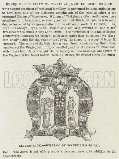 Relique of William of Wykeham, New College, Oxford. Illustration for The Illustrated London News, 28 December 1850.