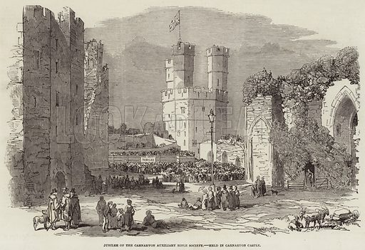 Jubilee of the Carnarvon Auxiliary Bible Society, held in Carnarvon Castle. Illustration for The Illustrated London News, 13 August 1853.
